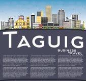 De Stadshorizon van Taguigfilippijnen met Kleurengebouwen, Blauwe Hemel a Stock Fotografie