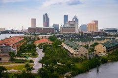 De stadshorizon van Tamper, panorama op moderne wolkenkrabbers Royalty-vrije Stock Afbeelding