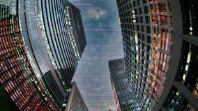 De stadshorizon van Tokyo met code en gegevens stock foto