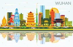 De Stadshorizon van Wuhanchina met Kleurengebouwen, Blauwe Hemel en Refl royalty-vrije illustratie