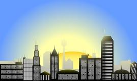 De stadsillustratie van de zonsopgang vector illustratie