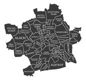 De stadskaart Duitsland DE van Erfurt geëtiketteerd zwarte illustratie Stock Afbeeldingen