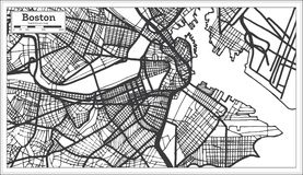 De Stadskaart van Boston de V.S. in Retro Stijl Zwart-witte vectorillustratie stock illustratie
