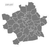 De stadskaart van Erfurt met het silhouetvorm van de steden grijze illustratie Stock Fotografie
