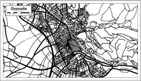 De Stadskaart van Granada Spanje in Retro Stijl Zwart-witte vectorillustratie royalty-vrije illustratie