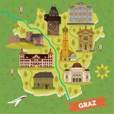 De stadskaart van Graz met het sightseeing van oriëntatiepunten stock illustratie