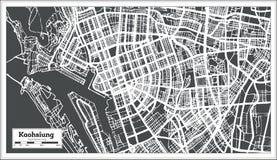 De Stadskaart van Kaohsiungtaiwan in Retro Stijl Zwart-witte vectorillustratie vector illustratie