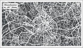 De Stadskaart van Manchester Engeland in Retro Stijl Zwart-witte vectorillustratie royalty-vrije illustratie