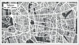 De Stadskaart van Teheran Iran in Retro Stijl Zwart-witte vectorillustratie royalty-vrije illustratie
