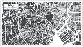 De Stadskaart van Tokyo Japan in Retro Stijl Zwart-witte vectorillustratie royalty-vrije illustratie