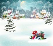 De stadslandschap van de de wintervakantie royalty-vrije illustratie