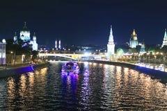 De stadslandschap van de nacht Stock Afbeelding