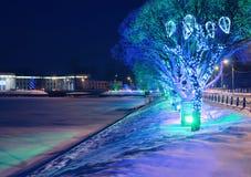De stadslandschap van het nieuwjaar royalty-vrije stock afbeelding