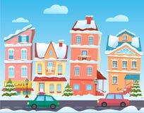 De stadslandschap van het de winterbeeldverhaal Vectorkerstmisachtergrond met grappige huizen Sneeuwstad bij vakantievooravond Royalty-vrije Stock Fotografie