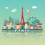 De Stadslandschap van Parijs Vlakke ontwerpillustratie Stock Afbeeldingen