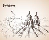 De stadslandschap van Vatikaan schets Stock Fotografie