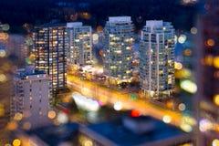 De Stadslichten van Vancouver BC tijdens Blauw Uur Stock Afbeelding
