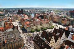 De stadsmarkt van Wroclaw van hierboven Stock Fotografie