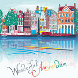 De stadsmening van Amsterdam over de toren Munttoren Stock Afbeeldingen