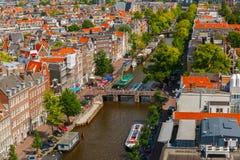 De stadsmening van Amsterdam van Westerkerk, Holland, Nederland Stock Afbeeldingen
