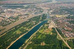 De stadsmening van Belgrado van hierboven Stock Fotografie