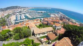 De stadsmening van Cannes, zuiden van Frankrijk stock footage