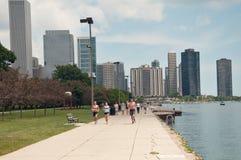 De stadsmening van Chicago. Het meer van Michigan. De V.S. Stock Afbeeldingen