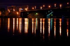 De stadsmening van de nacht Stock Foto