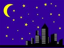 De stadsmening van de nacht Stock Afbeelding