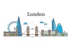 De stadsmening van Londen, stedelijke horizon met gebouwen, de oriëntatiepunten moderne vlakke vectorillustratie van Europa Royalty-vrije Stock Foto