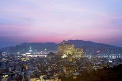 De stadsmening van Macao van hierboven bij schemering Stock Afbeeldingen