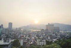 De stadsmening van Macao van hierboven vóór zonsondergang Royalty-vrije Stock Foto's