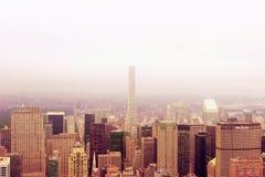De stadsmening van Manhattan over bovenkant Stock Afbeeldingen