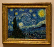 De Stadsmoma Sterrige Nacht van New York, Vincent Van Gogh Stock Afbeeldingen