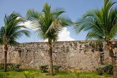 De stadsmuren van Cartagena Stock Foto's