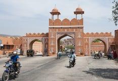 De stadsmuur van Jaipur, de Roze Stad Stock Foto