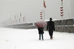 De stadsmuur van Xian het sneeuwen Royalty-vrije Stock Afbeeldingen