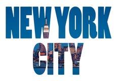 De Stadsnaam van New York - het teken van de de reisbestemming van de V.S. op witte backgr Stock Foto's