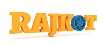 De stadsnaam van Rajkot met vlagkleuren gestileerde brief O Stock Afbeelding