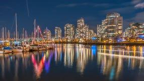 De stadsnacht mening-yaletown-bekijkt Vancouver Royalty-vrije Stock Afbeeldingen