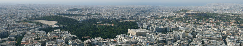 De stadspanorama van Athene Stock Afbeeldingen