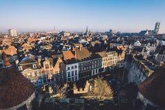 De Stadspanorama van Gent stock foto