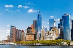 De Stadspanorama van New York met de Horizon van Manhattan Stock Foto