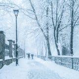De stadspark van de winter in ochtend Royalty-vrije Stock Foto