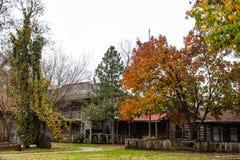 De stadsreplica van de Abandondedgrens met logboekgebouwen in de herfst royalty-vrije stock afbeelding