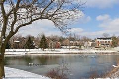 De stadsscène van de winter met een vijver Stock Foto