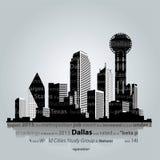 De stadssilhouet van Dallas Vector illustratie Stock Afbeeldingen