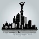 De stadssilhouet van Kiev Stock Foto's