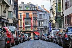 De stadsstraat van Brussel Stock Foto's
