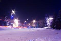 De stadsstraat van de nacht Royalty-vrije Stock Afbeeldingen